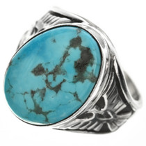 Navajo Kingman Turquoise Mens Ring 29820