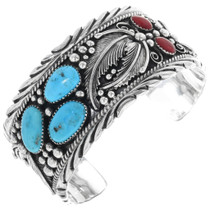 Turquoise Coral Mens Cuff Bracelet 29818
