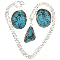 Turquoise Silver Pendant Set 29836