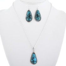 Silver Turquoise Western Pendant Set 29835