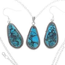 Blue Turquoise Pendant Earring Set 29835