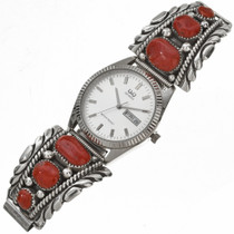 Vintage Zuni Coral Mens Silver Watch 29797