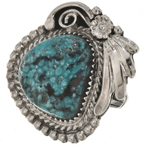 Genuine Turquoise Silver Ladies Ring 28942