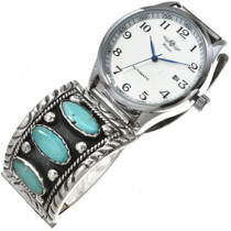 Vintage Navajo Turquoise Mens Watch Sleeping Beauty 1970's