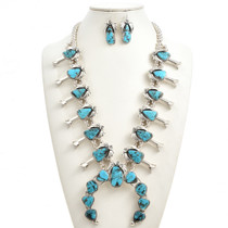 Kingman Turquoise Squash Blossom Necklace Set 29844