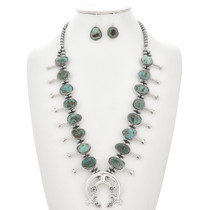 Battle Mountain Turquoise Squash Blossom Necklace Set 29861
