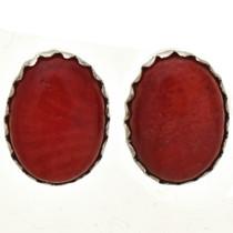 Native American Coral Stud Earrings 28460