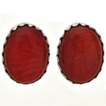 Native American Coral Stud Earrings 28460