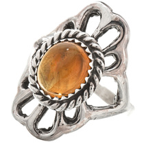 Citrine Ladies Silver Navajo Ring Old Pawn 29869