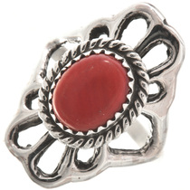 Red Coral Silver Navajo Ladies Ring 29870