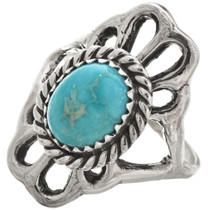Turquoise Sterling Ladies Navajo Ring Old Pawn 29871
