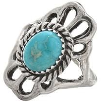Turquoise Sterling Ladies Navajo Ring Old Pawn 29871