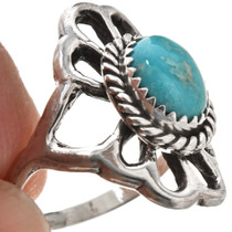 Turquoise Sterling Ladies Navajo Ring Old Pawn Sandcast 29871