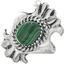 Malachite Sterling Navajo Ladies Ring 29872