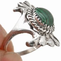 Malachite Sterling Navajo Ladies Ring Old Pawn Sandcast Design 29872