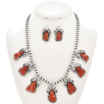 Navajo Apple Coral Silver Necklace Set 29876