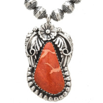 Native American Apple Coral Sterling Pendant 29876