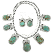 Turquoise Silver Necklace Set with French Hook Earring 29878