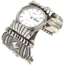 Vintage Hammered Sterling Navajo Watch 29890