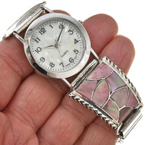 Zuni Traditional Pattern Ladies Silver Watch 29928