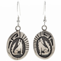 Sterling Wolf Coyote French Hook Earrings 29937
