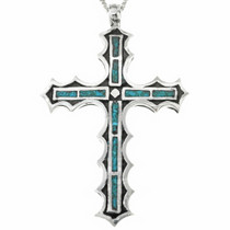 Chip Inlaid Turquoise Cross Pendant 29947