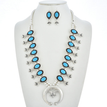 Turquoise Squash Blossom Necklace Set 29960