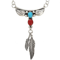 Turquoise Coral Silver Feather Necklace 29961