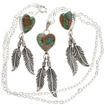 Emerald Valley Turquoise Heart Pendant With Earrings 29984
