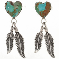 Emerald Valley Turquoise Silver Heart Earrings 29985
