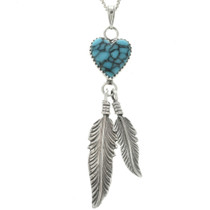 Spiderweb Turquoise Silver Heart Pendant 29986