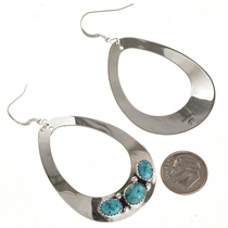 Turquoise Large Earrings Navajo Handmade 29990