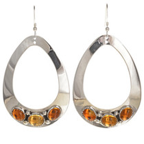 Citrine Silver Teardrop Navajo Earrings 29993