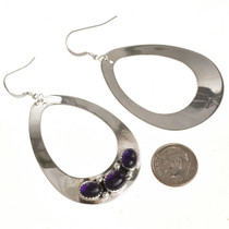 Amethyst Silver Earrings Navajo Made 29994