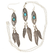 Navajo Turquoise Feather Pendant Set With Earrings 29995