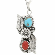 Turquoise Coral Silver Southwest Pendant 29996