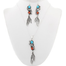 Navajo Turquoise Coral Silver Pendant Set 29997