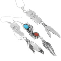 Sterling Silver Southwest Pendant Earrings 29997