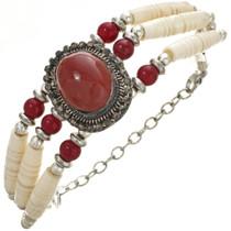Oxblood Red Silver Bone Choker Style Bracelet 30000