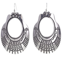 Tommy Rose Singer Overlaid Silver Earrings Navajo 30005