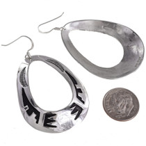 Handmade Navajo Silver Western Earrings French Hooks 30007