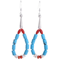 Santo Domingo Style Turquoise Coral Earrings Navajo French Hooks 30021