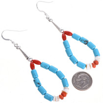 Turquoise Coral Earrings Navajo French Hooks 30021