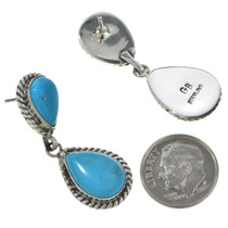 Turquoise Silver Dangle Post Earrings 30037