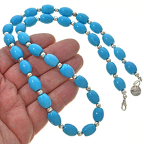 Turquoise Silver Navajo Necklace 30039