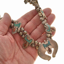 Silver Turquoise Chip Inlay Squash Blossom Necklace 30041