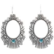 Turquoise Silver Handmade Navajo Earrings 30053