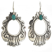 Turquoise Earrings Navajo Made Sterling Silver Design 30079