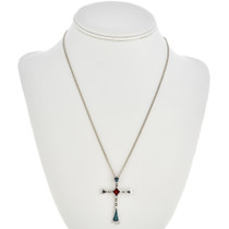 Turquoise Coral Silver Cross Pendant 30100