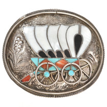Old Pawn Zuni Wagon Belt Buckle 30119